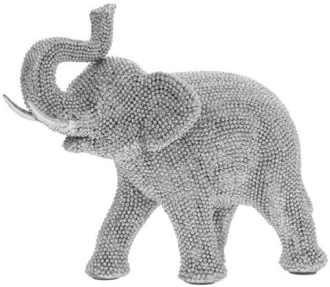 Silver Art Sparkly Bling Diamante Standing Elephant